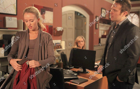 Ella Hart [Corrinne Wickes] , Dermott Macey [Frank Kelly]  and Declan Macey [Jason Merrels]  are all surprised to see Katie Sugden [Sammy Winward] back at work so soon. They are concerned when she starts crying.