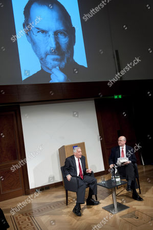 Editorial image of 5 x 15 event: Walter Isaacson and Roger Highfield at The Royal Institution, London, Britain - 04 Apr 2012
