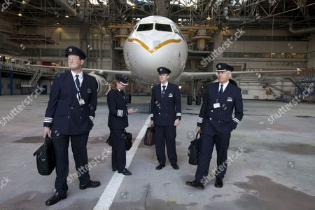 The BA crew who will fly the newly adorned A319 airbus on her maiden voyage