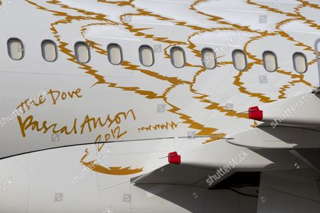 Pascal Anson's signature on 'The Dove' A319 airbus