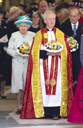 Queen Elizabeth II, Princess Beatrice and Prince Philip, The Dean of York Dr Keith Jones