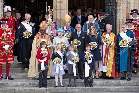 Archbishop of York John Sentamu, Queen Elizabeth II, Prince Philip, Princess Beatrice, The Dean of York Dr Keith Jones