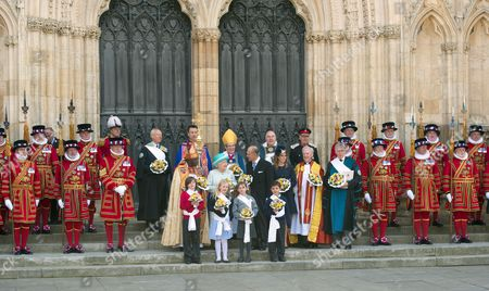 Stock Picture of Archbishop of York John Sentamu, Queen Elizabeth II, Prince Philip, Princess Beatrice, The Dean of York Dr Keith Jones