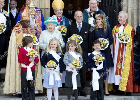 Stock Photo of Archbishop of York John Sentamu, Queen Elizabeth II, Prince Philip, Princess Beatrice, The Dean of York Dr Keith Jones
