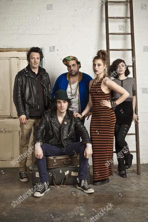 Friends - (L-R) Oliver Duncan, Nikki Shapiro, Lesley Hann, Samantha Urbani and Matt Molnar