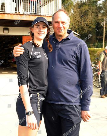 Stock Picture of Henley Boat Race Henly On Thames Oxfordshire Between Oxford And Cambridge Women. Natalie Redgrave The Daughter Of Olympic 5 Time Gold Medalist Steve Redgrave Who Was On The Winning Oxford Team. Pictured Here With Her Dad Steve.