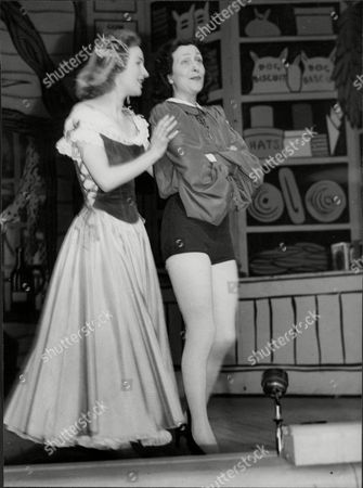 Jean Adrian And Sheila Mathews At Rehearsals For Dick Whittington Pantomime - 1948.