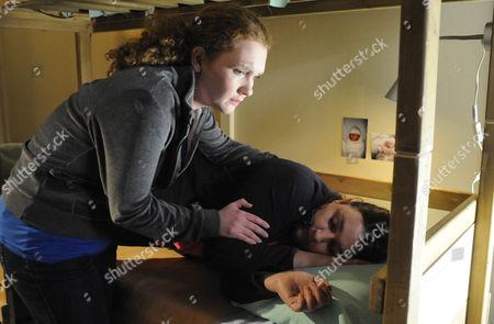 Fiz Stape [Jennie McAlpine] finds Ginny [Ashley McGuire] unconcious.