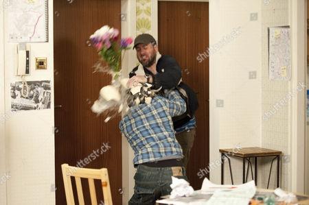 Jason Grimshaw [Ryan Thomas] fights with John Stape [Graham Hawley]
