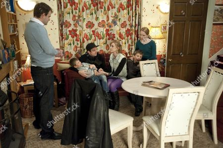 Stock Image of Becky McDonald [Katherine Kelly], Tina McIntyre [Michelle Keegan] and Graeme Proctor [Craig Gazey] advise Claire Peacock [Julia Haworth] to leave the Country.