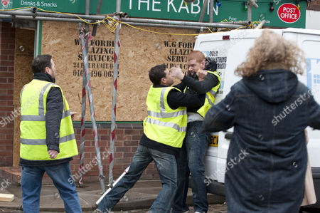 After being locked in the van by accident Gary Windas [Mikey North] goes for Owen Armstrong [Ian Puleston-Davies] after being let out - Jason Grimshaw [Ryan Thomas] has to grab him. Owen tells him to stay away from Izzy and Eddie Windass [Steve Huison] has to hold him back.