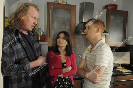 Stock Photo of Eddie Windass [Steve Huison] tells a shocked Anna Windass [Debbie Rush] and Gary Windass [Mikey North] that Faye [Ellie Leach] has to go.