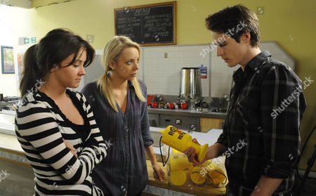 Stock Image of Sophie Webster (Brooke Vincent) and Sian Powers (Sacha Parkinson) try to make amends to James (James Roache). The girls are gutted to see what's been taken from the charity.