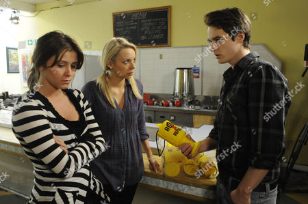 Sophie Webster (Brooke Vincent) and Sian Powers (Sacha Parkinson) try to make amends to James (James Roache). The girls are gutted to see what's been taken from the charity.