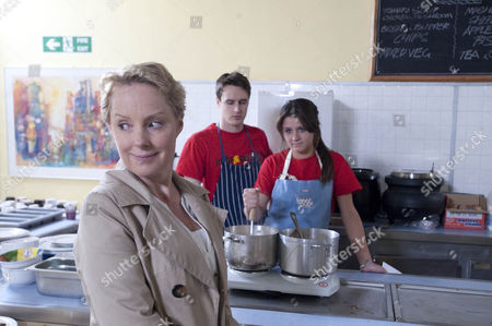 Sally Webster (Sally Dynevor). see's what it's like working in a soup kitchen. Sophie Webster (Brooke Vincent) is pleased with her mum's efforts. Also pictured James (James Roache)