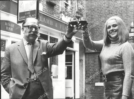 Bernard Nelson Bessunger The Landlord Of The Lamb & Flag Covent Garden Celebrates With Actress Jan Rossini On Hearing The News That The Pub Is Not Be Demolished