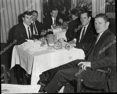 Scottish Football Players Have Dinner In Mount Royal As John White Memorial Match Has Been Fogged Off; Includes Jimmy Kennedy (celtic) And Dave Gibson (leicester) 1964.
