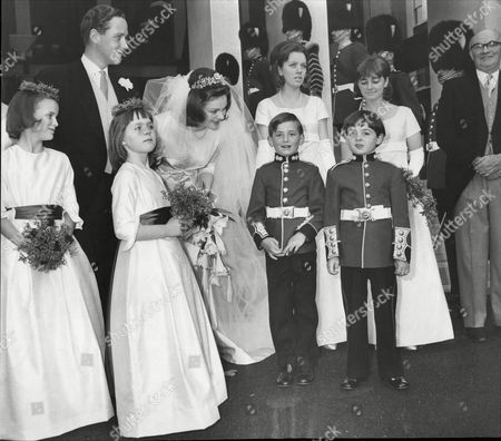 Lady Clare Giffard Marries Captain Oliver Lindsay Of Grenadier Guards At Wellington Barracks Chapel 1964; Attended By Martin Fetherston-godley Ludovoc Lindsay Sally Fetherston-godely And Laura Lindsay.