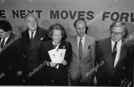 Margaret Thatcher Prime Minister Launches Conservative Party Manifesto Along With Leon Brittan Lord William Whitelaw Norman Tebbit And Sir Geoffrey Howe Conservative Central Office 1987.