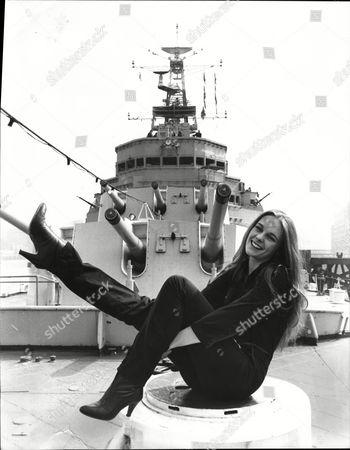 Sarah Berger Actress On Deck Of Navy Ship 1981.