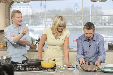 Presenters Patrick Kielty and Kate Thornton with Kevin Woodford