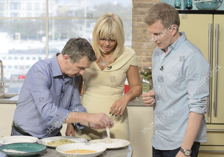 Stock Picture of Presenters Patrick Kielty and Kate Thornton with Kevin Woodford