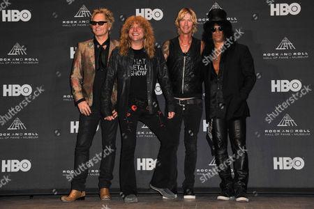 Slash, Duff McKagan, Steven Adler, and Matt Sorumin of Guns N' Roses