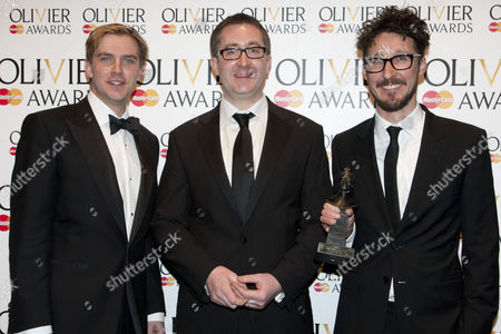 Stock Photo of William Village, Timothy Sheader with Dan Stevens accept the award for Best Musical Revival