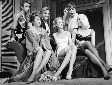 Theatrical Play Adams Apple Starring (back Row) Richard Poore Bill Simpson And Anthony Newlands. (seated) Yolande Turner Georgina Cookson And Margaret Nolan At The Manchester Opera House.