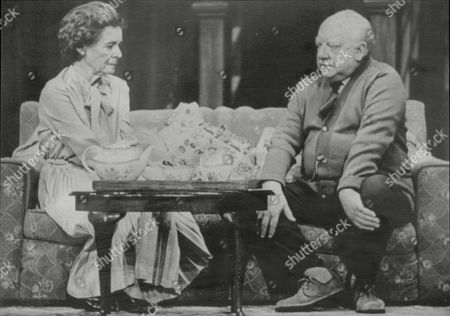 Arthur Lowe Actor With Wife Joan Cooper In Play Home At Seven Alexandra Theatre Birmingham 1982.