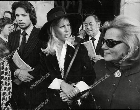 Rex Harrison Actor With Wife Elizabeth Harris At Memorial Service For Actor Jack Hawkins 1973.