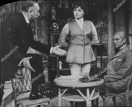 Theatrical Plays Misalliance At The Royal Court Theatre Campbell Singer As John Tarleton Barbara Jefford As The Passenger And Alan Macnaughton As Lord Summerhays