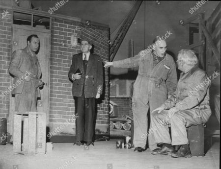 A Scene From The Play 'over The Bridge' Staring (left To Right) Harry Towb John Mcbride J.g. Devlin And Joe Tomelty At The Empire Theatre In Belfast.