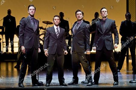 Declan Egan as Bob Gaudio, left, Dion Bilios as Frankie Valli, Anthony Harkin as Tommy De Vito and Glaston Toft as Nick Massi