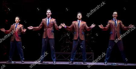 Dion Bilios as Frankie Valli, Declan Egan as Bob Gaudio, Anthony Harkin as Tommy De Vito and Glaston Toft as Nick Massi