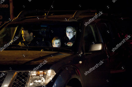 Stock Photo of Claire Peacock [Julia Haworth] and the kids leave for France