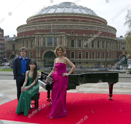 Editorial picture of Katie Derham Launches The Bbc Proms 2011 With Young Pianists Alice Sara Ott And Benjamin Grosvenor At The Albert Hall