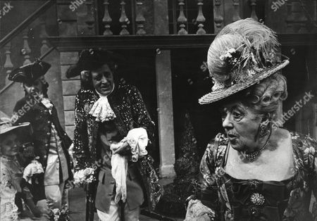 Alistair Simm And Margaret Rutherford Actors In Costume On Stage During Play The Clandestine Marriage 1966.