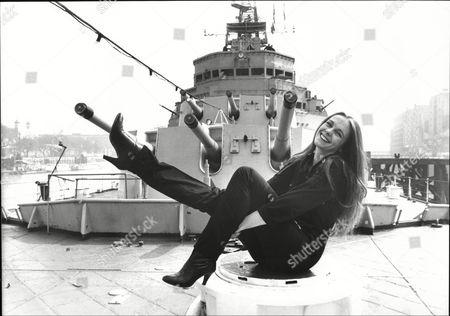 Sarah Berger Actress On Deck Of Naval Ship By Guns 1981.