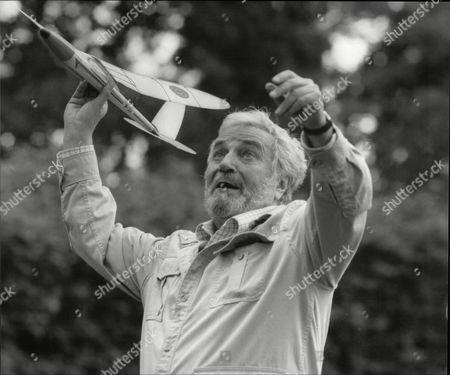 Michael Bentine Comedian With Model Glider Plane Esher 1987.