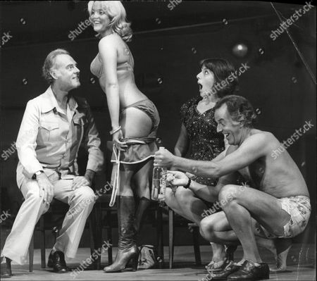Terence Alexander Sally Harrison Jean Perkins And Brian Rix Actors On Stage During Farce Play Fringe Benefits Whitehall Theatre 1977.