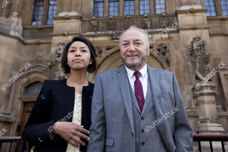 George Galloway (R) and wife Putri Gayatri Pertiwi