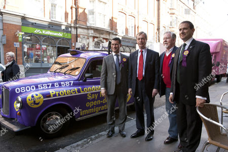 Steven Woolfe, UKIP Leader Nigel Farage, Richard Bridgeman and UKIP Mayoral candidate Lawrence Webb