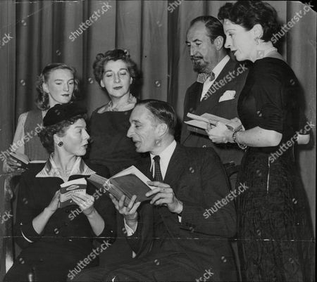 Stock Photo of Actors Rehearsing At St Pancras Town Hall For Readings From The Works Of George Bernard Shaw. L-r (back Row) Sybil Newbank Henzie Raeburn And Ralph Truman L-r (seated) Wendy Hiller E. Martin Brown And Margaret Rawlings.
