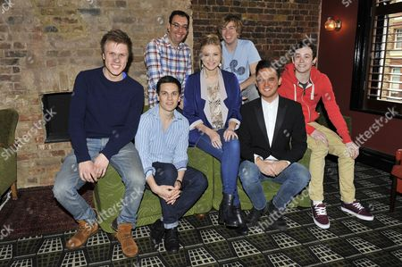 (Lto R) Richard Lowe, Aaron Sidwell, Eliza Hope Bennett, Gareth Gates and Lil' Chris; (Back row) Elliot Davis and James Bourne