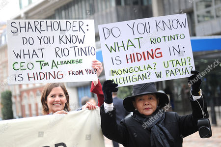 Editorial picture of Unions protest outside the Rio Tinto AGM, London, Britain - 19 Apr 2012