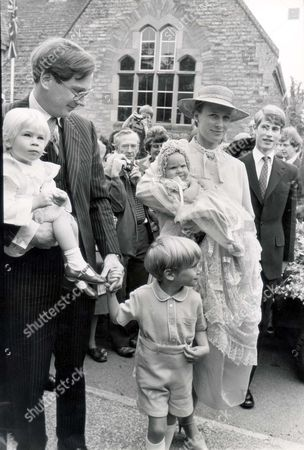 Lady Rose Victoria Brigitte Louise Windsor Lady Rose Windsor Was Christened Today At Barnwell Parish Church Near Peterborough She Is The Daughter Of The Duke And Duchess Of Gloucester. Seen Here With Her Sister Lady Davina Lewis (davina Windsor) And Brother Alexander Windsor The Earl Of Ulster. Pkt 1186 - 39040