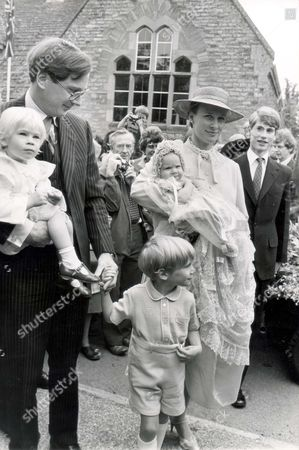 Lady Rose Victoria Brigitte Louise Windsor Lady Rose Windsor Was Christened Today At Barnwell Parish Church Near Peterborough She Is The Daughter Of The Duke And Duchess Of Gloucester. Seen Here With Her Sister Lady Davina Lewis (davina Windsor) And Brother Alexander Windsor The Earl Of Ulster. Pkt 1186 - 39050