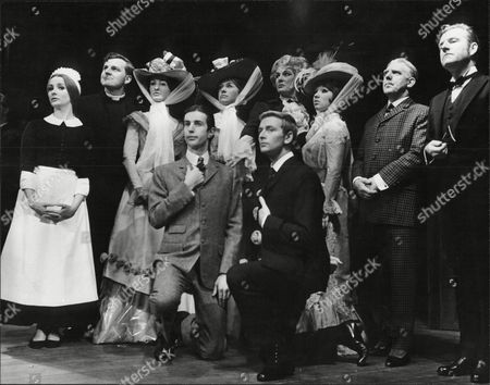 Stock Photo of The Cast Of 'our Man Crichton' At The Palace Theatre In Manchester Back Row Millicent Martin As Tweeny Peter Honri As The Rev Treherner Anna Barry As The Dowager Lady Brocklehurst Dilys Watling As Lady Agatha George Benson As Lord Loan And Kenneth Moore As Our Man Chrichton David Kernan As Ernest Wooley And Glyn Worsnip As Lord Brocklehurst