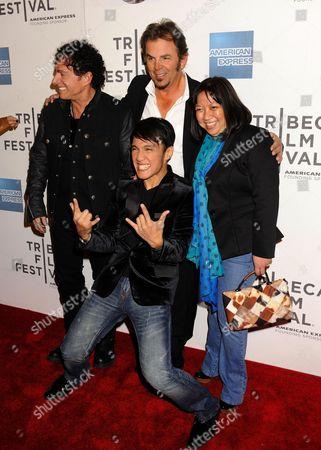 Stock Image of Journey Band Members L-R: Neal Schon, Jonathan Cain, Arnel Pineda, Director Ramona S. Diaz